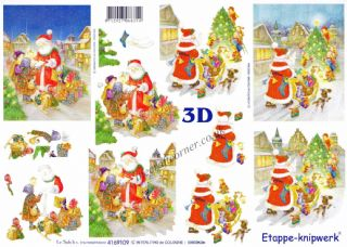 Father Christmas and Christmas Letters 3d Decoupage Sheet